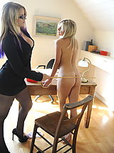 Secretaries in High Heels Amy Green and  Ass Spanked in April 2011